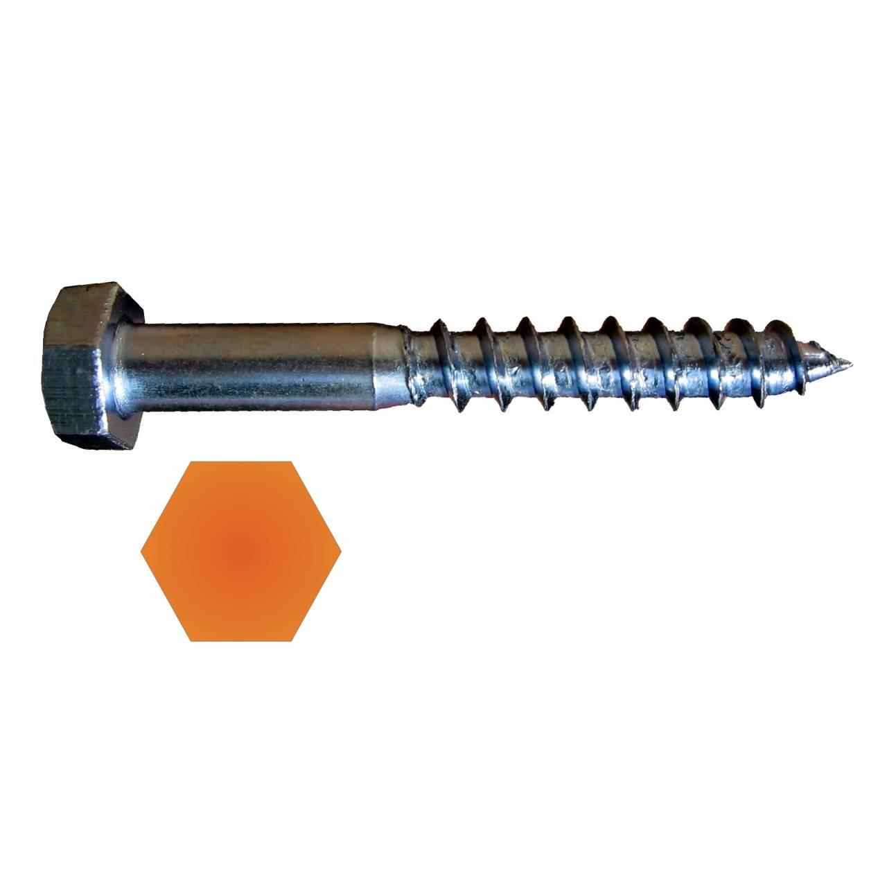 Sechskant-Holzschraube DIN571 vz 6,0 x 50 mm / Pck a 200 Stück