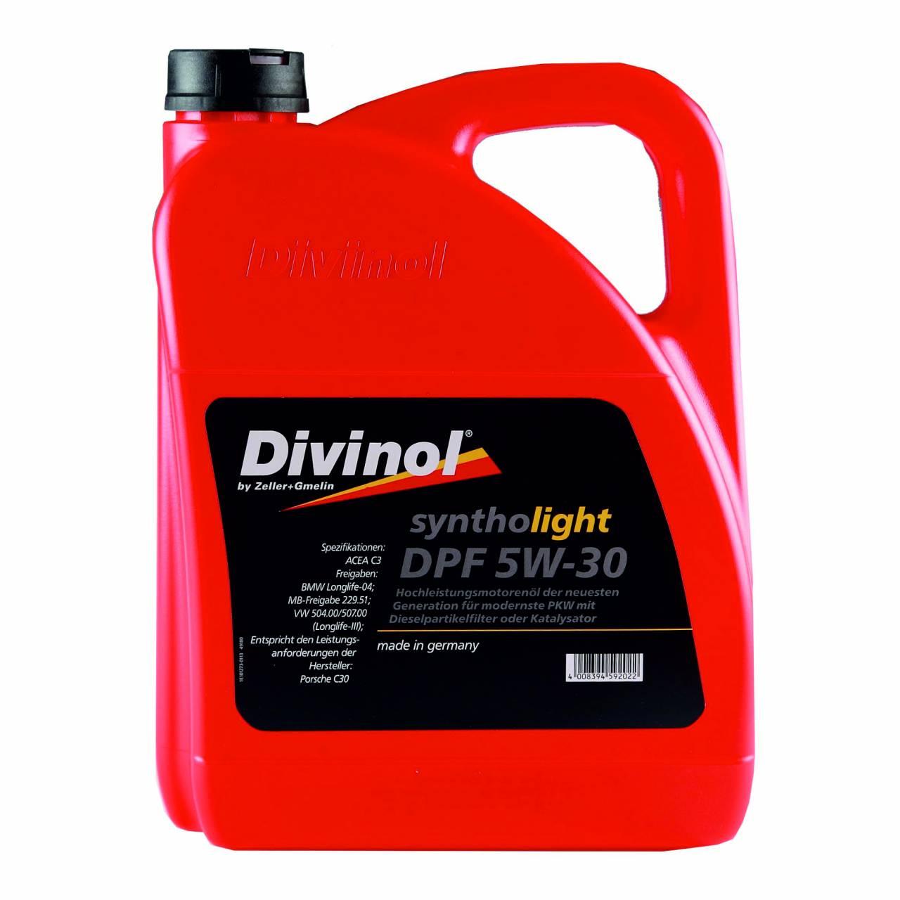 Motorenöl 'Divinol' Syntholight DPF 5W-30 / 5,0 Liter Kanister
