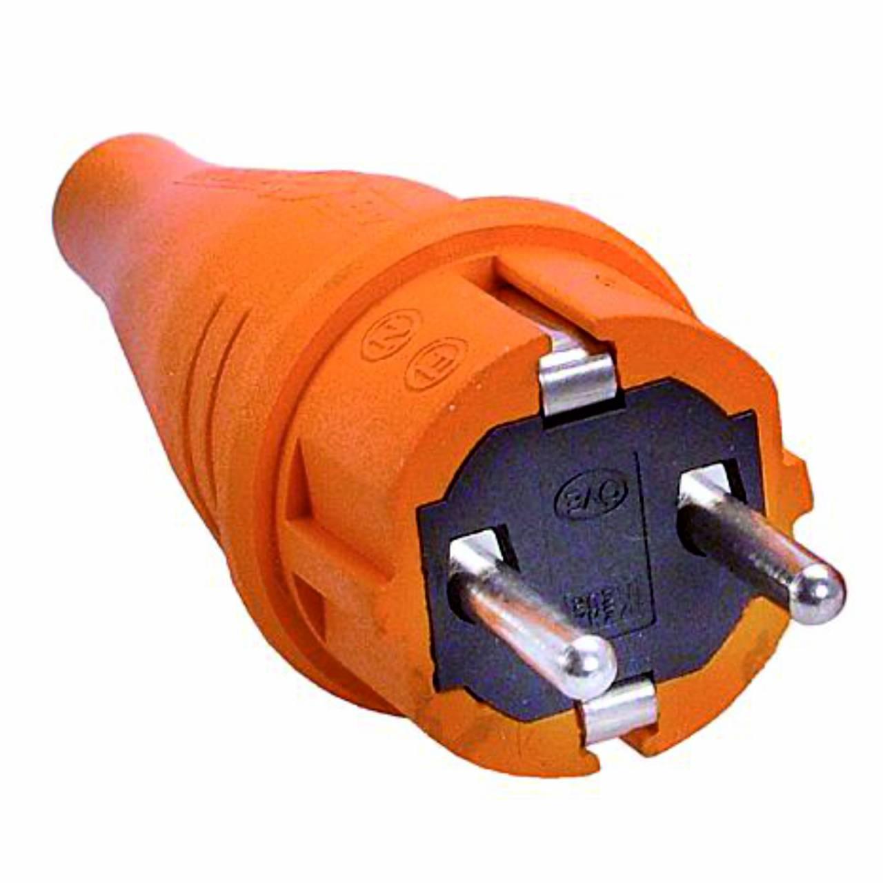 Schutzkontakt-Gummi-Stecker, orange, 230V, 16A, Außenbereich