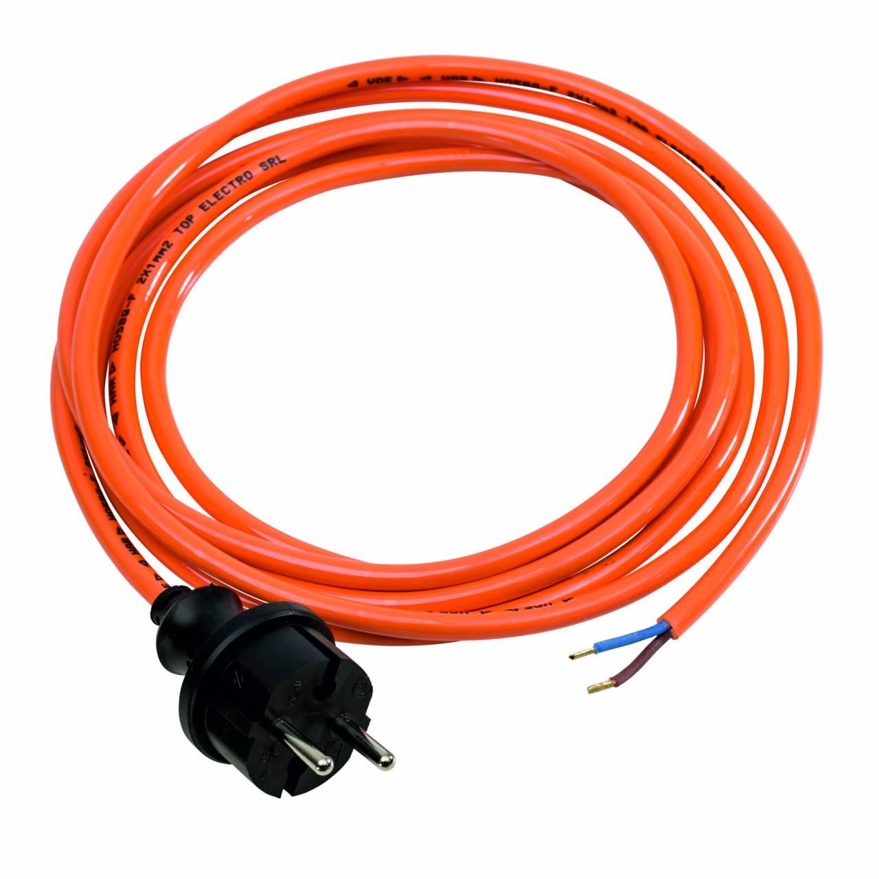PUR-Anschlussleitung, orange, 230V, H05BQ-F 2x1,0 / 3 m