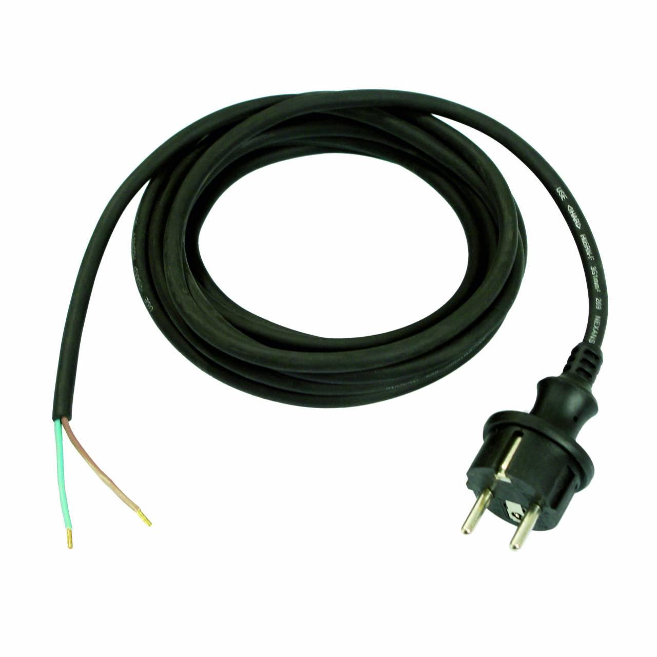 Gummi-Anschlussleitung, schwarz, 230V, H07RN-F 2x1,0 / 3 m