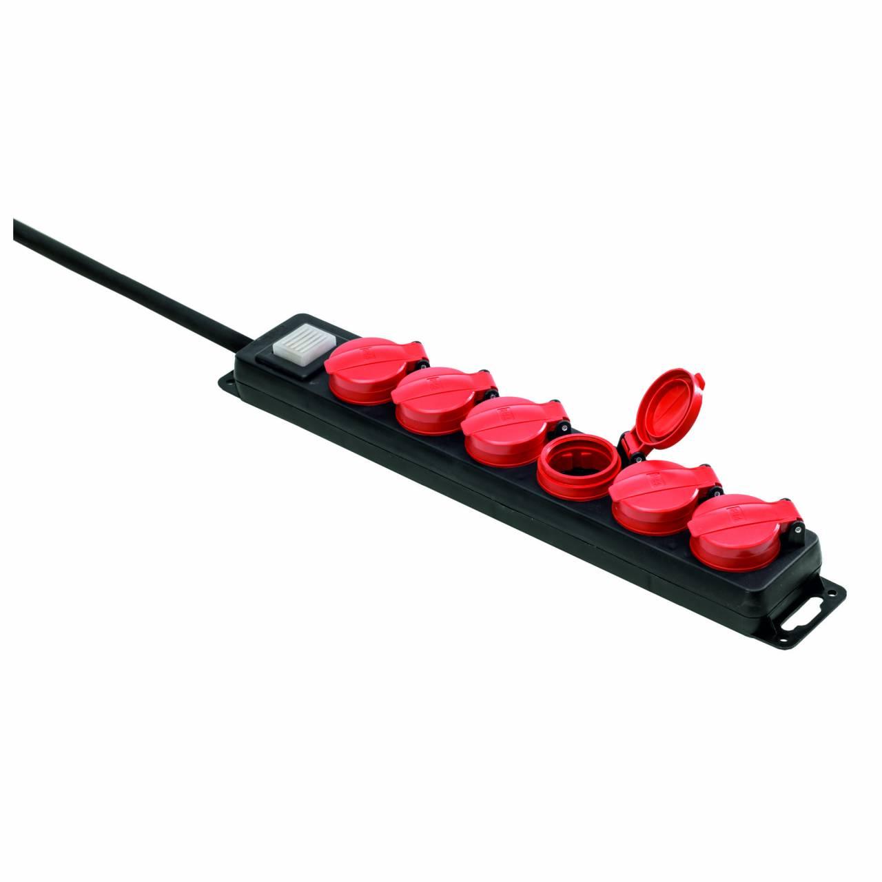 Steckdosenleiste 6-fach IP44, 1,5 m Zuleitung, Deckel selbstschließend