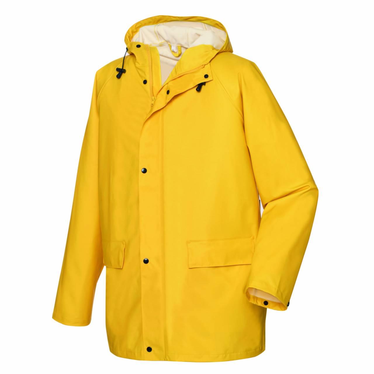 PU-Regenschutz-Jacke gelb, Gr.XL, mit Kapuze