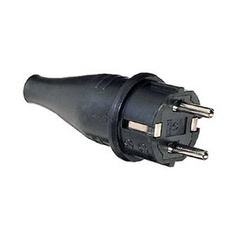 Schutzkontakt-Gummi-Stecker, schwarz, 230V, 16A, mit Bauzulassung