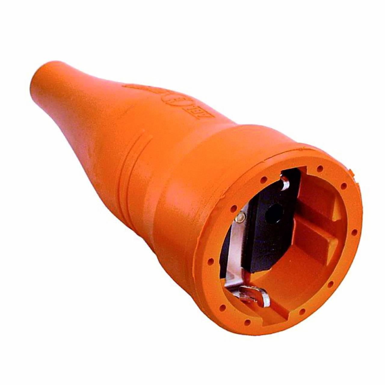 Schutzkontakt-Gummi-Kupplung, orange, 230V / 16A, Innenbereich