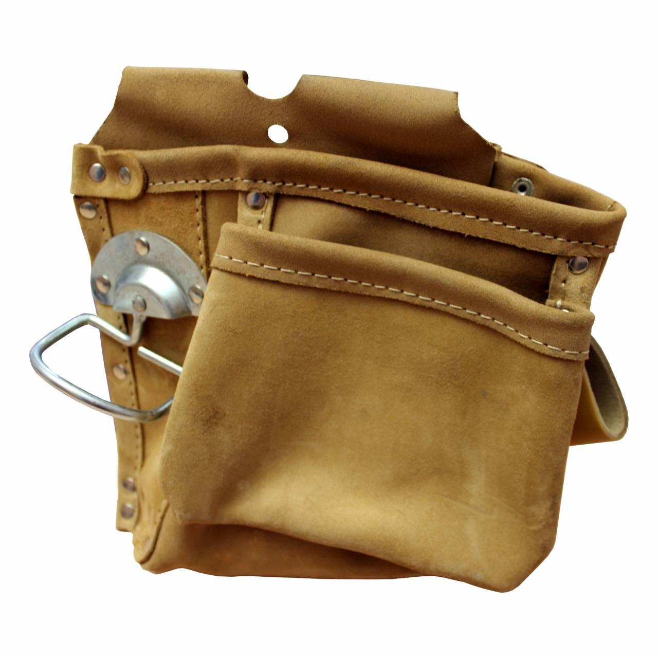 Nagel- / Werkzeugtasche, Spaltleder, 2 Taschen, 1 Halter, 1 Schlaufe