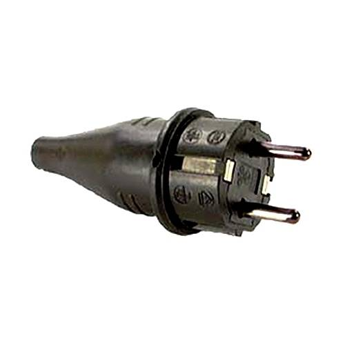 Schutzkontakt-Gummi-Stecker, schwarz, 230V, 16A, Außenbereich