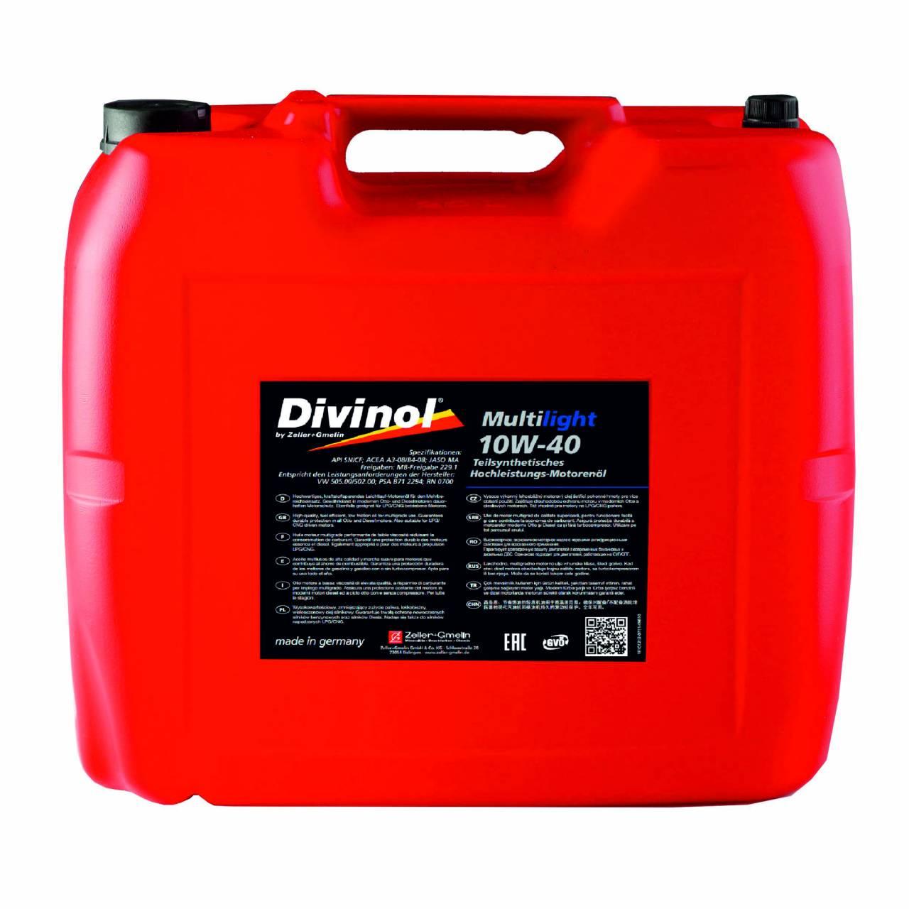 Motorenöl 'Divinol' Multilight 10W-40 / 20,0 Liter Kanister