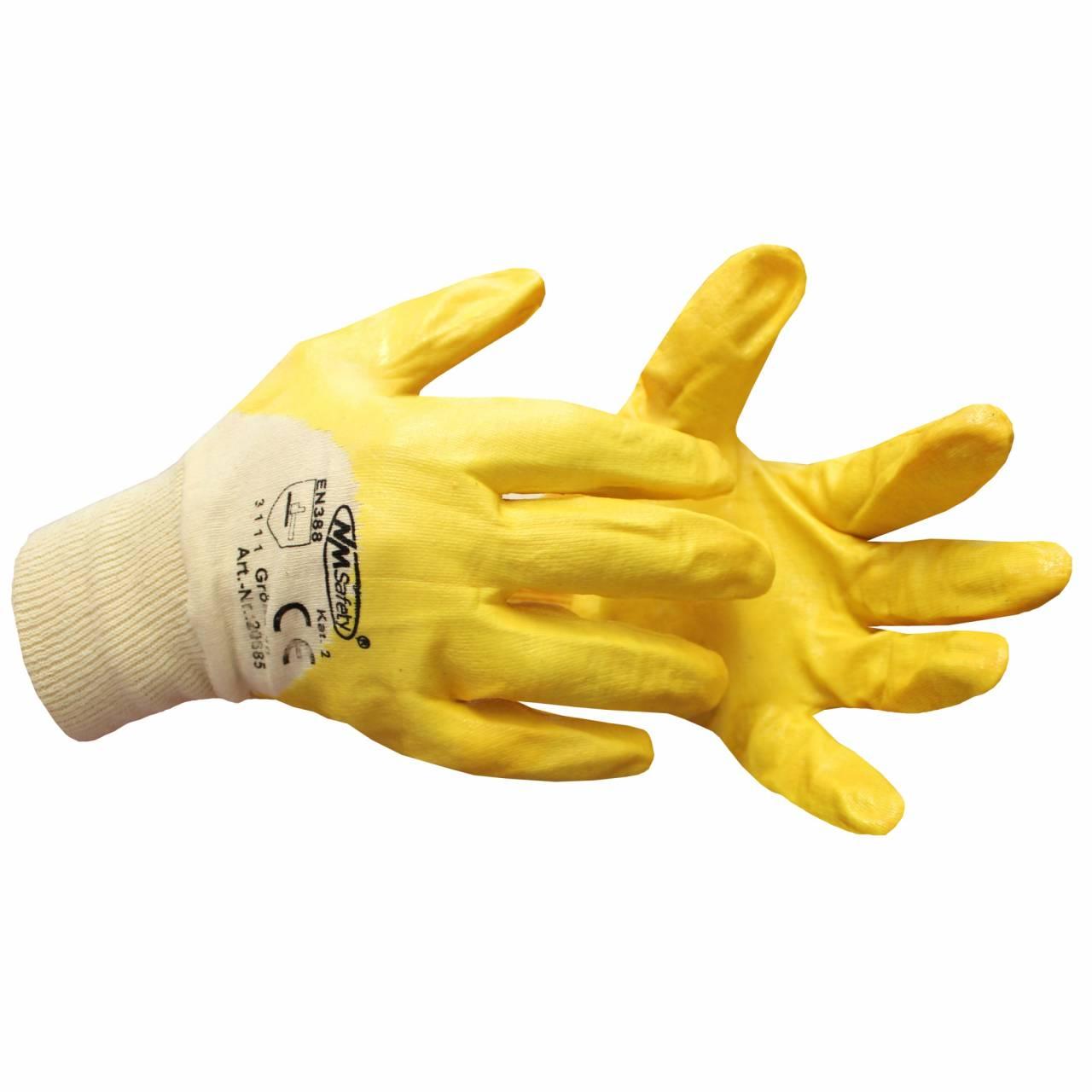 Nitril-Handschuhe Gr. 8, gelb, BW-Gewebe, EN388 Kat.2 / Paar