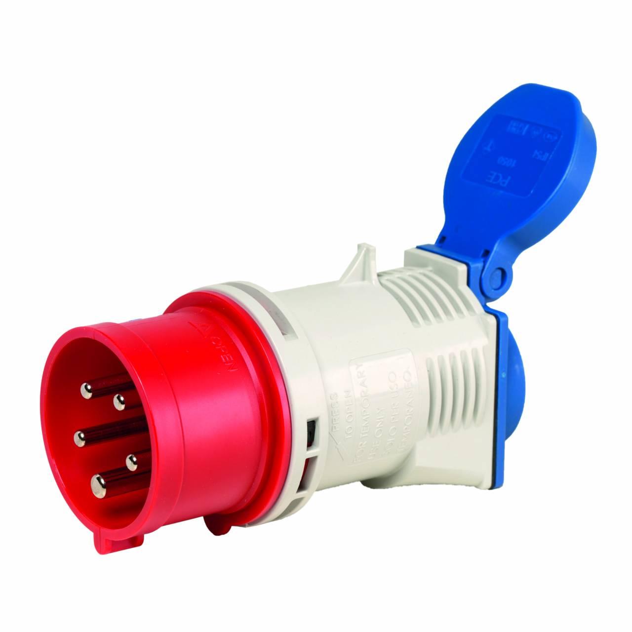 CEE-Adapter CEE-Stecker 5-polig 400V / 16A auf Schuko-Dose 230V / 16A