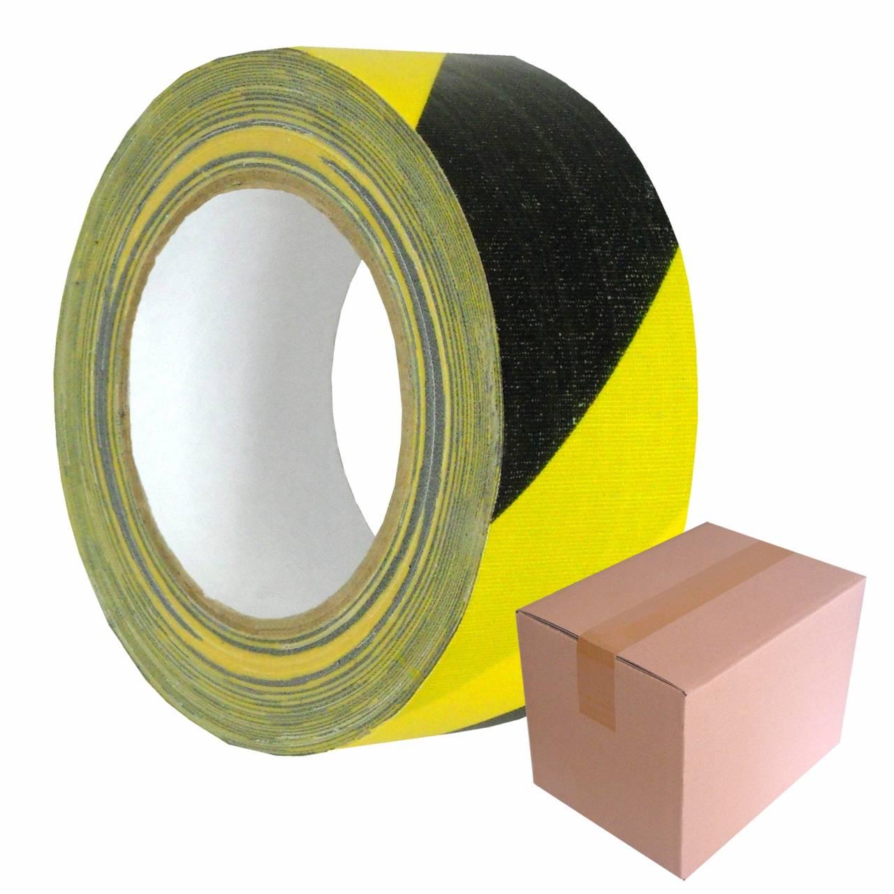 Gewebe-Warnband T506 schwarz-gelb 50 mm x 25 m / Krt a 24 Rollen