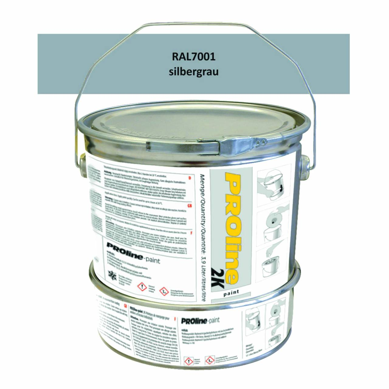Hallen-Markierfarbe 2K 'PROline-paint' SILBERGRAU / Gebinde a 5,0 Liter