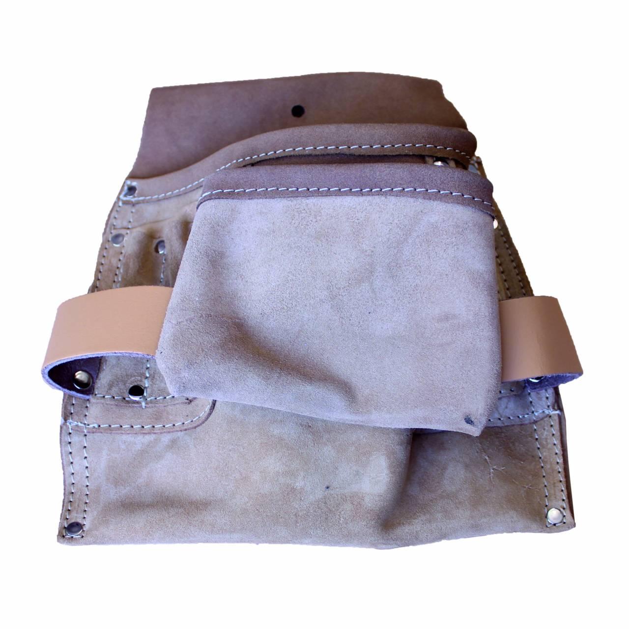 Nagel- / Werkzeugtasche, Spaltleder, 8 Taschen, 2 Schlaufen