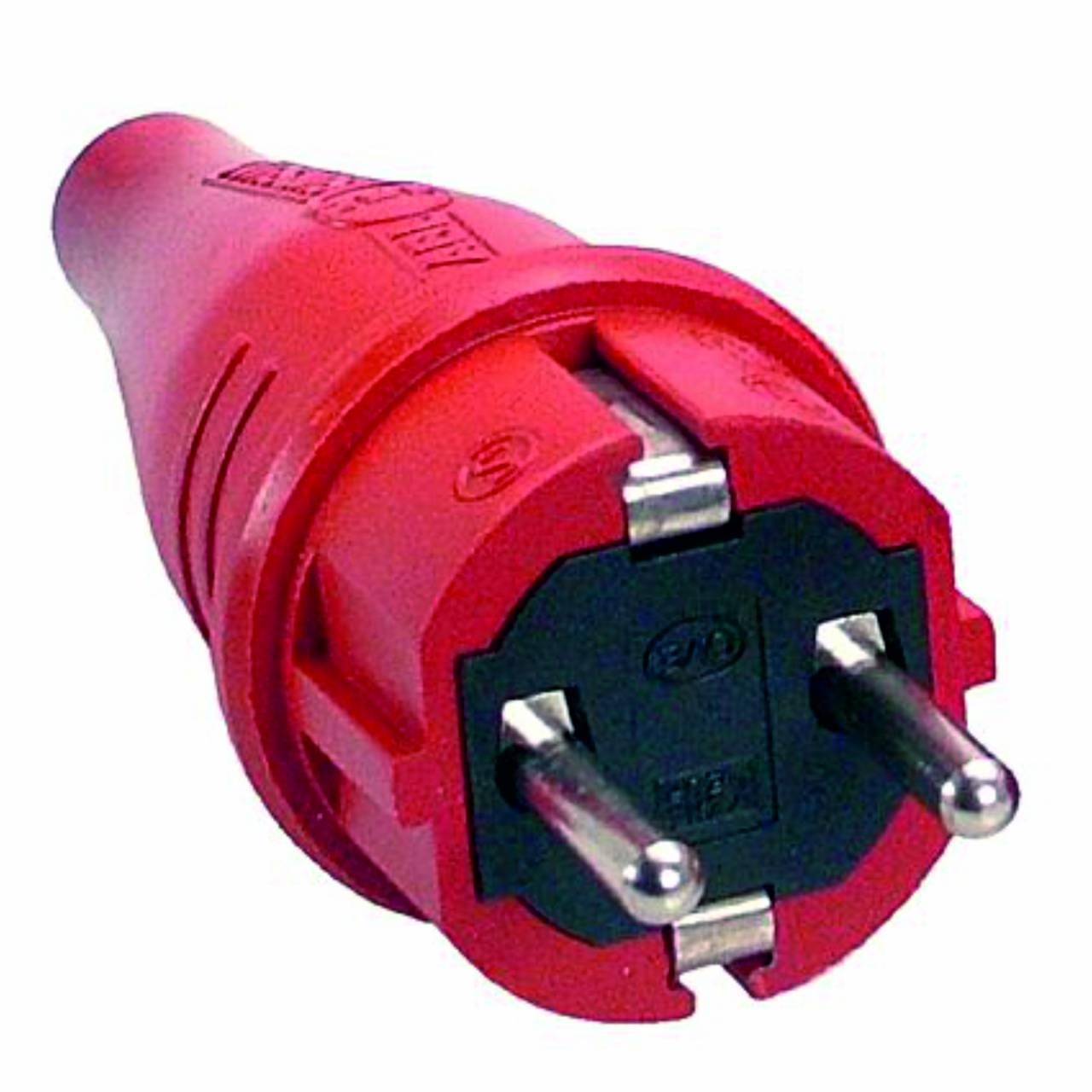 Schutzkontakt-Gummi-Stecker, rot, 230V, 16A, Außenbereich