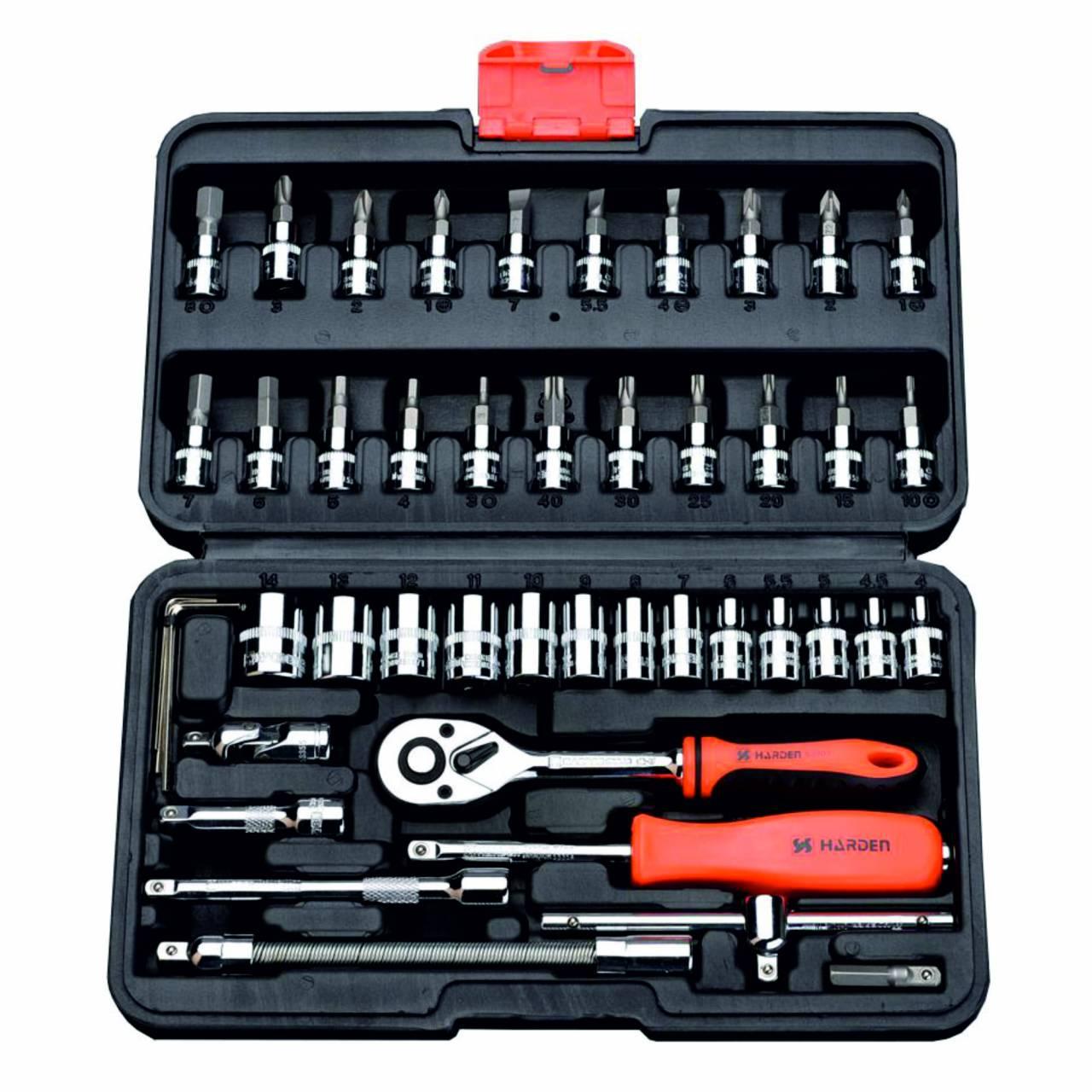 Steckschlüssel-Satz 'Harden' 46-tlg / im schlagfesten Werkzeugkoffer