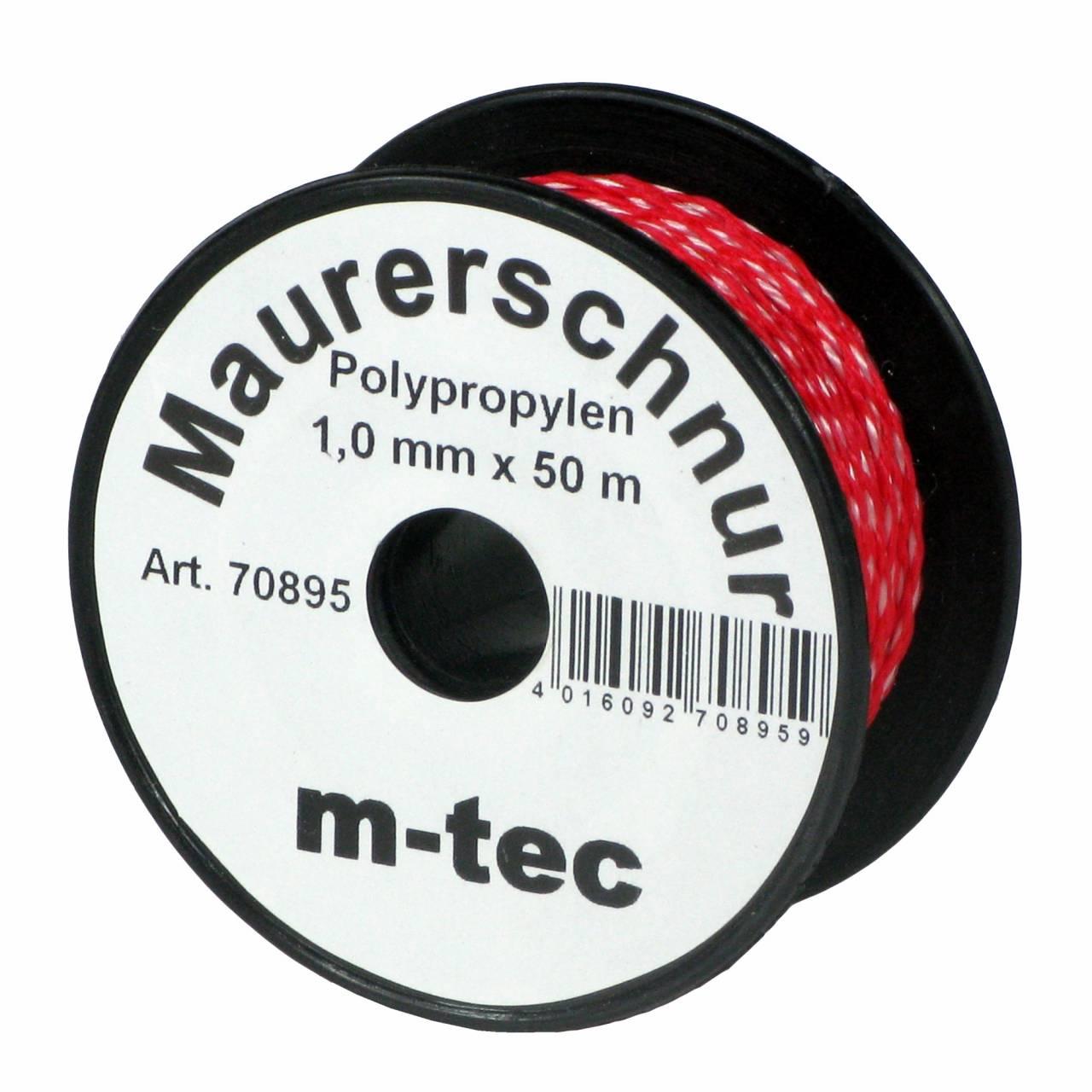 Lot-Maurerschnur 50 m x Ø 1,0 mm Rot-Weiss