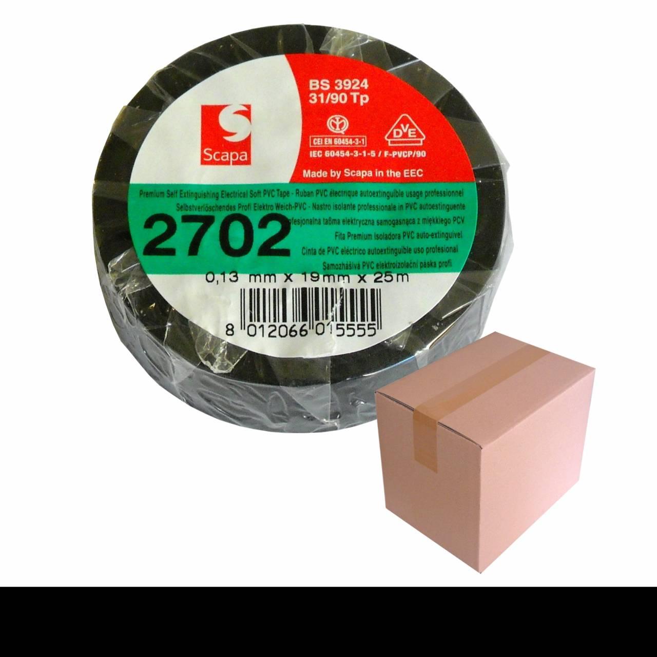 Isolierband, 50 mm x 25 m schwarz, VDE-Zul. / Krt a 48 Rollen