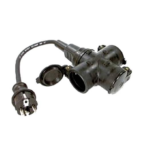 Schutzkontakt-Gummi-Stecker, mit 0,3 m Kabel und 3-fach Steckdose 230V